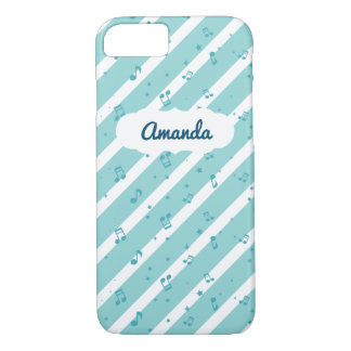 Blue Striped Music Notes iPhone 7 Case