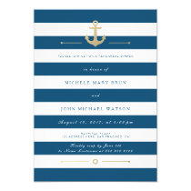 Blue Striped Nautical Rehearsal Dinner Invite