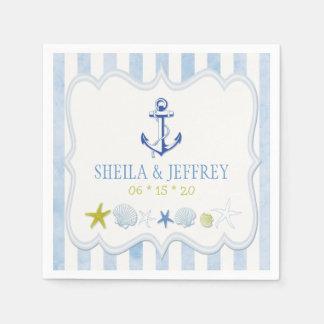 Blue Striped Nautical Wedding Paper Napkin