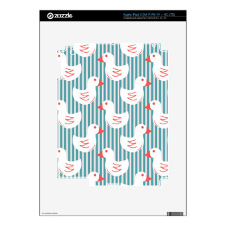 Blue Striped Pattern With White Ducks iPad 3 Decal