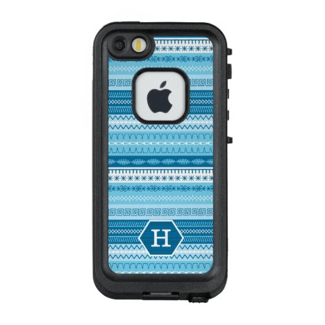 Blue striped sewing stitched pattern with monogram LifeProof FRĒ iPhone SE/5/5s case
