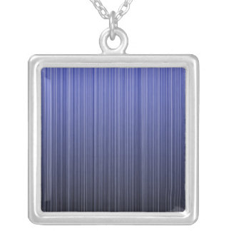 Blue Striped Silver Plated Necklace