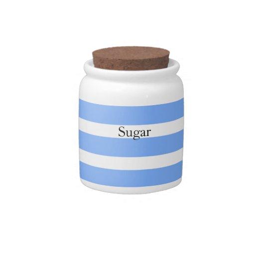 Blue Striped Sugar Storage Jar Candy Jars