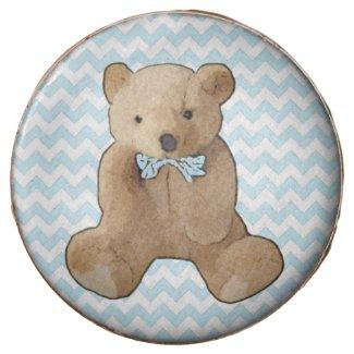 Blue Striped Teddy Bear Baby Shower or Birthday