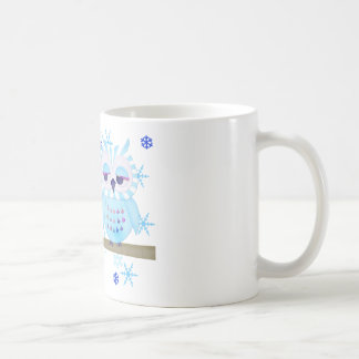 Blue Striped Winter Snow Owl Coffee Mug