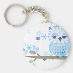 Blue Striped Winter Snow Owl Key Chain