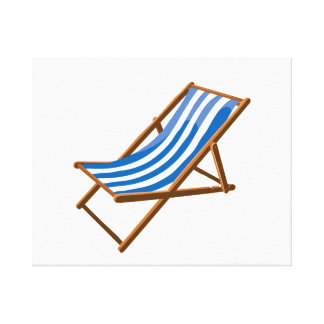 blue striped wooden beach chair.png stretched canvas print