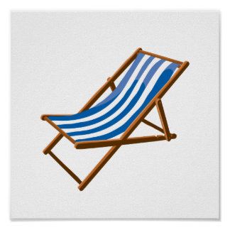 blue striped wooden beach chair.png poster