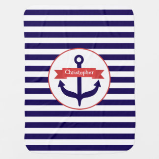 Blue Stripes + Anchor Personalized Baby Blanket