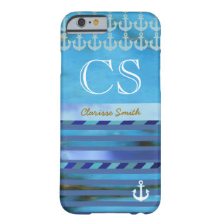 blue stripes, anchors, name & initials barely there iPhone 6 case