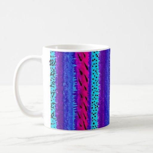 Blue Stripes and Dots A5 Mugs