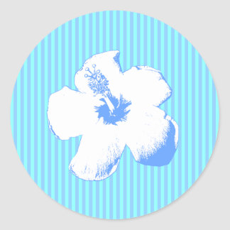 Blue Stripes and Flower Round Stickers