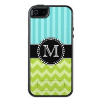 Blue Stripes and Green Chevron, Tough, Monogrammed OtterBox iPhone 5/5s/SE Case