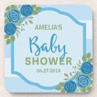 Blue Stripes and Roses Boy Baby Shower Beverage Coaster