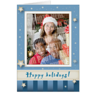 Blue stripes and stars holiday card