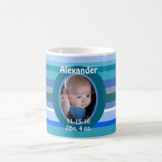 Blue Stripes Baby Boy Personalized Photo Mug