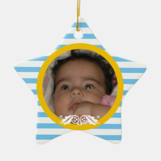 Blue stripes Baby's 1st Christmas photo Ornament