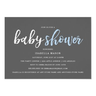 Blue Stripes Baby Shower Invitation