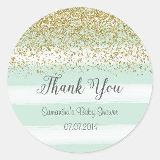 Blue Stripes Baby Shower Sticker