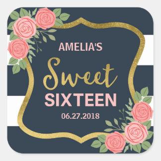 Blue Stripes, Blush Pink Roses Sweet 16 Invitation Square Sticker