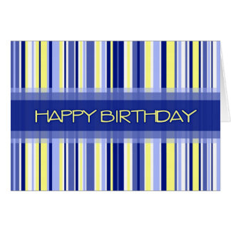 Blue Stripes Business From Group Birthday Card