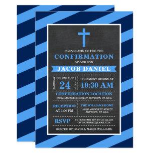 Blue Stripes Chalkboard Boy Confirmation Invitation