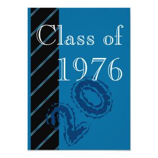 Blue stripes Class reunion party Card