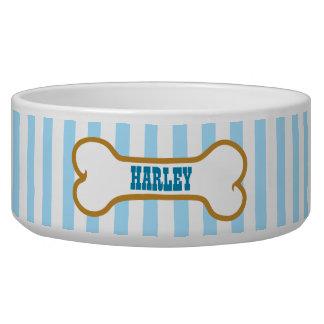 Blue Stripes Custom Name Dog Bone Bowl