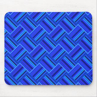 Blue stripes diagonal weave pattern mouse pad