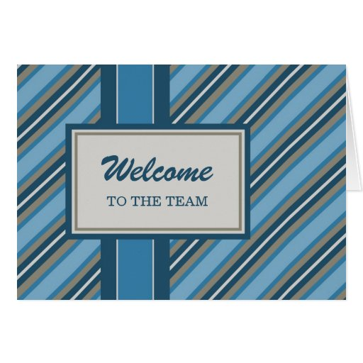 Blue Stripes Employee Welcome Card