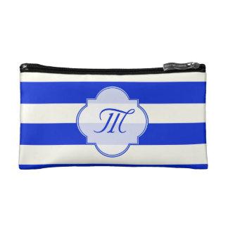 Blue stripes fashion makeup bag