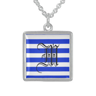 Blue stripes fashion square pendant necklace
