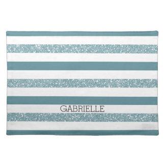 Blue Stripes Faux Glitter Cloth Place Mat