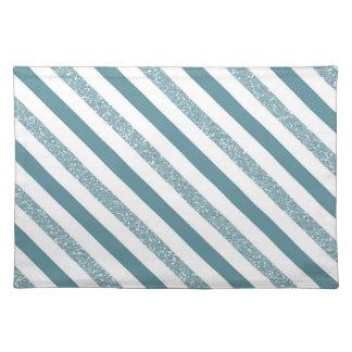 Blue Stripes Faux Glitter Cloth Placemat