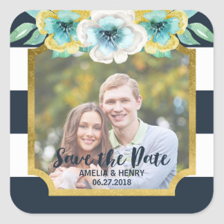 Blue Stripes Faux Gold Floral Save the Date Photo Square Sticker
