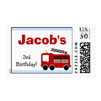 Blue Stripes Fire Truck Birthday Postage Stamp