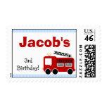 Blue Stripes Fire Truck Birthday Postage Stamp
