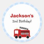 Blue Stripes Fire Truck Birthday Stickers