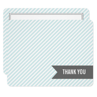 Blue Stripes Flat Thank You Notes Card