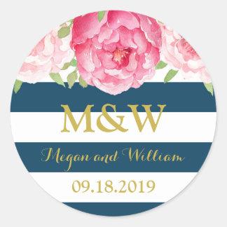 Blue Stripes Floral Monogram Wedding Favor Tag