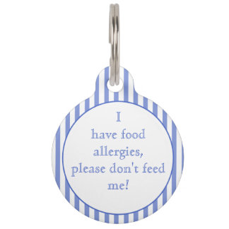 Blue stripes Food Allergies Medical Alert Pet Tag