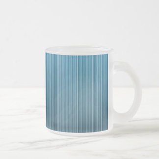 Blue Stripes Frosted Glass Coffee Mug