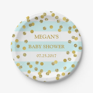 Blue Stripes Gold Confetti Baby Shower Plate