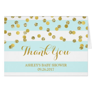 Blue Stripes Gold Confetti Baby Shower Thank You Card