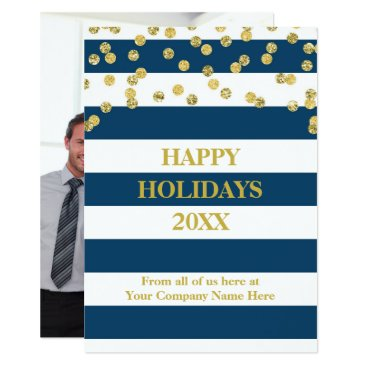 Professional Business Blue Stripes Gold Confetti Christmas Business Card