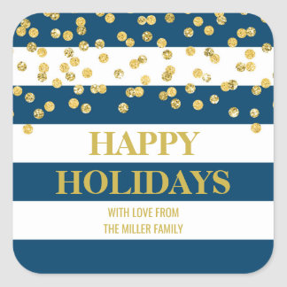 Blue Stripes Gold Confetti Happy Holidays Custom Square Sticker
