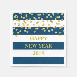 Blue Stripes Gold Confetti Happy New Year Napkins