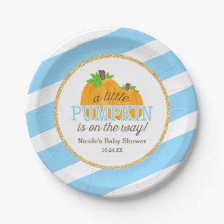 Blue Stripes Gold Little Pumpkin Fall Baby Shower Paper Plate