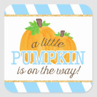 Blue Stripes Gold Little Pumpkin Fall Baby Shower Square Sticker
