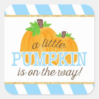 Blue Stripes Gold Little Pumpkin Fall Baby Shower Square Sticker
